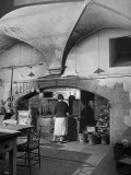 Cranborne Manor Kitchen, with an Old-Fashioned Cooking Range Premium Photographic Print