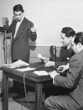 Broadcaster Lowell Thomas Talking During His Show Premium Photographic Print