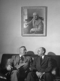 John R. Steelman and John with Snyder Sitting Beneath a Portrait of Harry S. Truman Premium Photographic Print