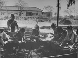 War Victims at Poor House Fashioning Charcoal Blocks Premium Photographic Print