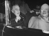 President Franklin Roosevelt Talking into Handheld Microphone Premium Photographic Print