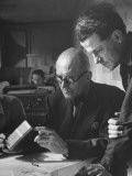 Le Corbusier and Student Working on Project for French Ministry of Reconstruction Premium Photographic Print