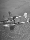 Pilot Nadine Ramsey, Flying in the P-38 Fighter Plane Premium Photographic Print
