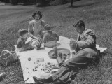 Actor Robert Walker and Actress Wife Jennifer Jones Outdoors with their Two Sons Having a Picnic Premium Photographic Print