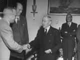 President Harry S. Truman Shaking Hands with Head of Mcgraw Hill Publishing Company Premium Photographic Print