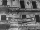 "A Communist Sign Hanging High across the Building Reading, "" Postwar All Occupying Troops"" Premium Photographic Print"