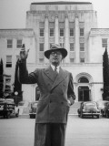 Mayor of San Angelo Harvey H. Allen Standing in Front of City Hall Premium Photographic Print