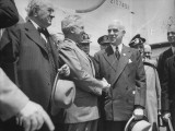 President Harry S. Truman, Shaking Hands with Edward R. Stettinius Jr Premium Photographic Print