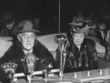 President Franklin Roosevelt with His Wife Eleanor, Talking into Broadcast Microphones Premium Photographic Print