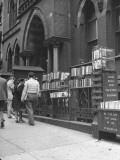 Bookstall Setting on Street in Front of the Brooklyn Museum Premium Photographic Print