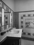 A Bathroom Full of Tiles That Were Designed from Paintings Premium Photographic Print