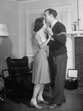 Michigan Halfback Tom Harmon and Girlfriend Margot Thoms Dancing to Phonograph Record Premium Photographic Print