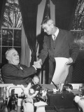 President Franklin D. Roosevelt Shaking Hands with William Hassett Premium Photographic Print