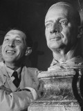 Bernard Tussaud with His Clay Model of General Douglas Macarthur Premium Photographic Print