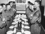 Marines Standing at Attention, before Eating, in the Mess Hall Premium Photographic Print