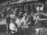 Interior of Factory with Workers Holding a Sit-Down Strike Premium Photographic Print
