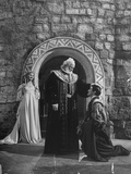 "Jean Simmons, Felix Aylmer and Terence Morgan Perform as Ophelia, Polonius and Laertes in ""Hamlet"" Premium Photographic Print"