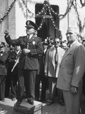President Harry S. Truman Standing at Attention While Mexican and American Anthems are Played Premium Photographic Print