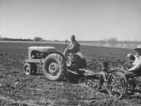 Charles C. Todd and Boyd Green Using the Tractor on the Country Farm Premium Photographic Print