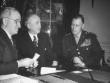 President Harry S. Truman, James F. Byrnes and General Walter B. Smith Having a Meeting Premium Photographic Print
