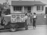 """Blouse House"" Door-To-Door Blouse Salesman Talking to Suburban California Housewife Premium Photographic Print"