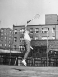Admiral Emory S. Land Playing on the Tennis Court Premium Photographic Print