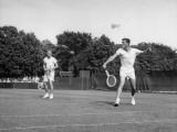 Tennis Players Jack Kramer and Ted Schroeder in Action Premium Photographic Print