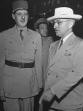 Harry S. Truman and Charles Degaulle Being Welcomed Premium Photographic Print