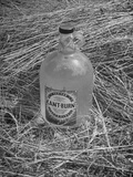 "A Bottle of ""Kant-Burn,"" Standing Amidst a Pile of Fire Proofed Hay Premium Photographic Print"