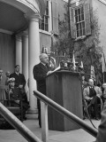 President Harry Truman Speaking at Memorial Service Premium Photographic Print