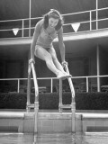 Esther Williams Getting Ready to Jump into Pool Premium Photographic Print