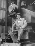 """""""Doby Doc"""" Sitting in Front of One of the First """"Iron Horses"""" in the West Premium Photographic Print"""