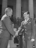 President Harry Truman Shaking Hands with Sergeant John D. Hawks Premium Photographic Print