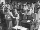 Japanese School Students Learning New Way of Reading Premium Photographic Print