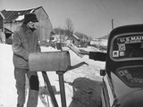 85 Year-Old Elmer Bull Out to Meet Rural Mailman Mark Whalon Making Rounds in Sub-Zero Weather Premium Photographic Print