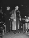 Harry Truman Standing Beside the British Prime Minister Winston Churchill Premium Photographic Print
