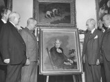 President Harry S. Truman Standing with Others in the White House and Looking at a Portrait Premium Photographic Print