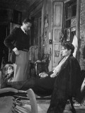 "Director Carol Reed Working with Actor James Mason on Set of the Moive ""Odd Man Out"" Premium Photographic Print"