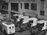 To Conserve Tires, the San Francisco News Is Beginning to Use 4 Horses and Wagons for Deliveries Premium Photographic Print