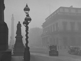 A View of the Fog Drenched Streets of London Premium Photographic Print