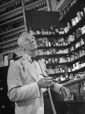 John Rogers in the Prescription Room of His Old-Fashioned Pharmacy Premium Photographic Print