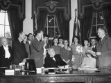 President Harry S. Truman Sitting in His Office Presiding over a Swearing in Ceremony Premium Photographic Print