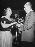 Margaret Truman Accepting Flowers at Her Singing Debut Premium Photographic Print