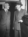 Two Men Talking Outside the White House after Meeting with President Harry S. Truman Premium Photographic Print