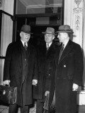 Alben with Barkley, Harry S. Truman and John with McCormack Standing in Front of the White House Premium Photographic Print