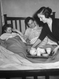 American Soldier and His Scottish Bride Being Served Tea in Bed on Morning after their Wedding Photographic Print