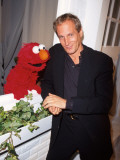 "Singer Michael Bolton with ""Sesame Street"" Television Series Puppet Elmo at Sesame Premium Photographic Print"