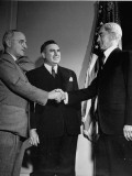 Sen. Thomas C. Hart Shaking Hands with Vice President Harry Truman as Sen. Bryan McMahon Looks On Premium Photographic Print