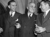 J. William Fulbright, Harry Truman and Brein McMahon Talking Upon their Arrival at Opening Session Premium Photographic Print
