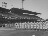 Baseball Players Standing in Line for Flag Raising Ceremony at Opening Game Premium Photographic Print